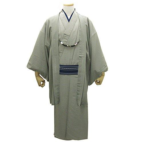 着物セット(袷着物+羽織)シンプル紬生地紳士アンサンブル着物(Sサイズ,4:利休鼠)