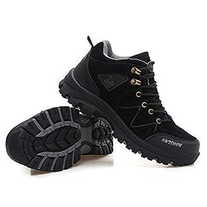 RDGO メンズ ハイキングシューズ トレッキングブーツ 登山靴 アウトドアシューズ 防滑 牛革 ローカット ウォーキングシューズ 防水 大きいサイズ 幅広 スニーカー