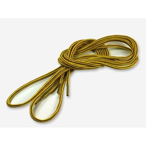 (クツヒモドットコム)靴ひも.com ワークブーツ用靴紐・黄×茶(約4mm) 100cm ひも先加工-クリア(透明)セル