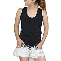 ナベシャツ 両脇ゴム式 胸つぶし タンクトップ スポブラ 5色 4サイズ an-a (S, 黒)