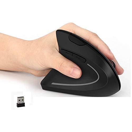 Jelly Comb ワイヤレスマウス 左利き 垂直型 2.4GHz ワイヤレスマウス 左手用 無線 マウス 静音 人間工学 縦型 高精度光学式 800/1200/1600 DPI 6つボタン 腱鞘炎防止 長時間使用でも疲れにくい (MV016)