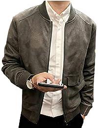 maweisong メンズファッション暖かいジップアップポケット付きフォークススエードフライトボンバージャケット
