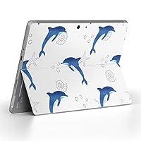 Surface go 専用スキンシール サーフェス go ノートブック ノートパソコン カバー ケース フィルム ステッカー アクセサリー 保護 イルカ 海 アニマル 013907