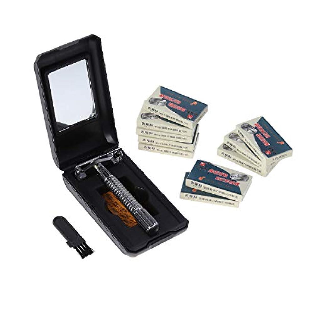 約クモSUPVOX 手作り ビンテージシェービングカミソリ ポータブル ステンレス ロングハンドル ダブルエッジブレードマニュアル 剃刀 シェーバーバーバーヘアツール 50pcs ダブルエッジブレード(シルバー)