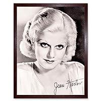 Vintage Portrait Actress Jean Harlow Autograph Blonde Bombshell Art Print Framed Poster Wall Decor 12X16 Inch ビンテージポートレートポスター壁デコ