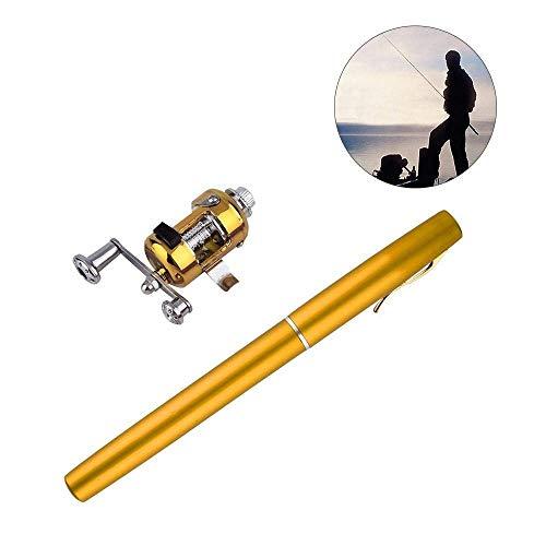 "(Gold) - Pawaca 20.5cm/8.1"" Mini Portable Pocket Pen Fishing Rods and Reels Combo, Aluminium Alloy Fishing Pole Retractable Pock"