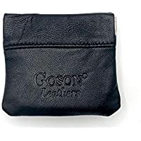 Goson Classic Leather Squeeze Coin Purse change Holder For Men and Women, Pouch size 3.50 in X 3.25 in