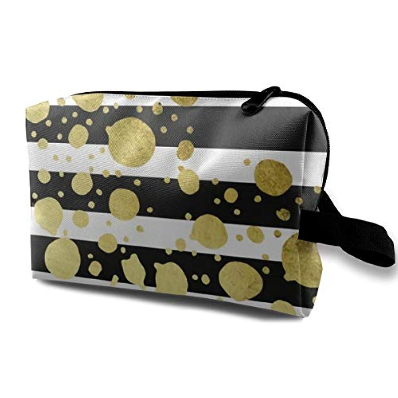 禁止通知経済Gold Polka Dot 収納ポーチ 化粧ポーチ 大容量 軽量 耐久性 ハンドル付持ち運び便利。入れ 自宅?出張?旅行?アウトドア撮影などに対応。メンズ レディース トラベルグッズ
