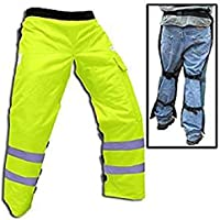 """Forester Chainsaw Safety Chaps with Pocket, Apron Style (Long 40"""", Safety Green)"""