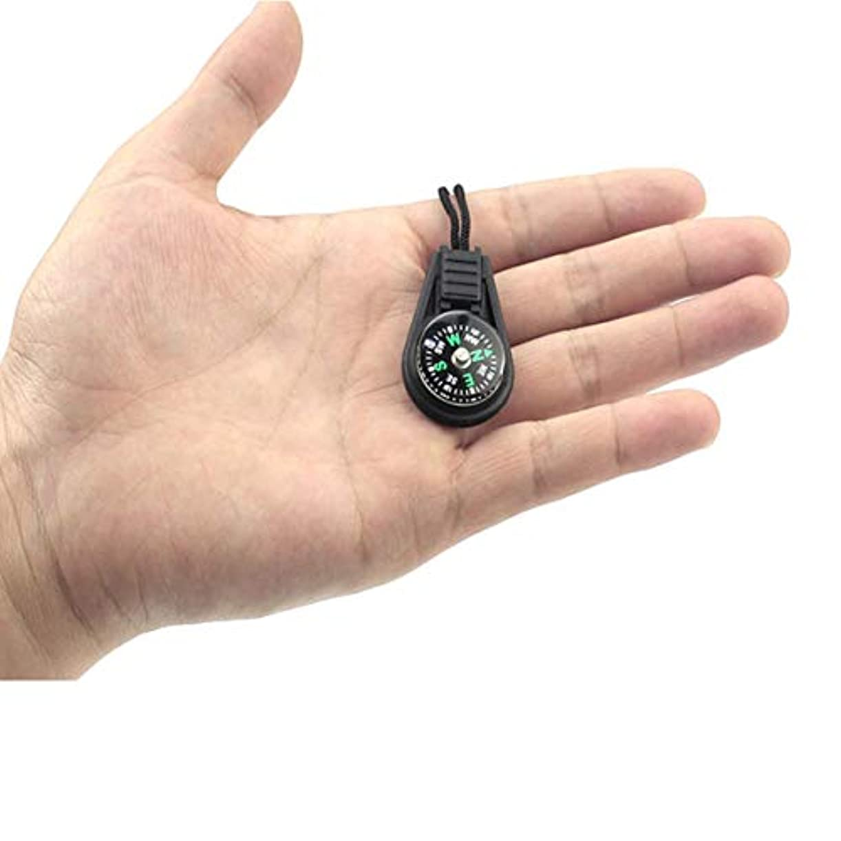 シャーロットブロンテ分離する株式ロープペンダント付き小型コンパスミニコンパスコンパス-ブラック