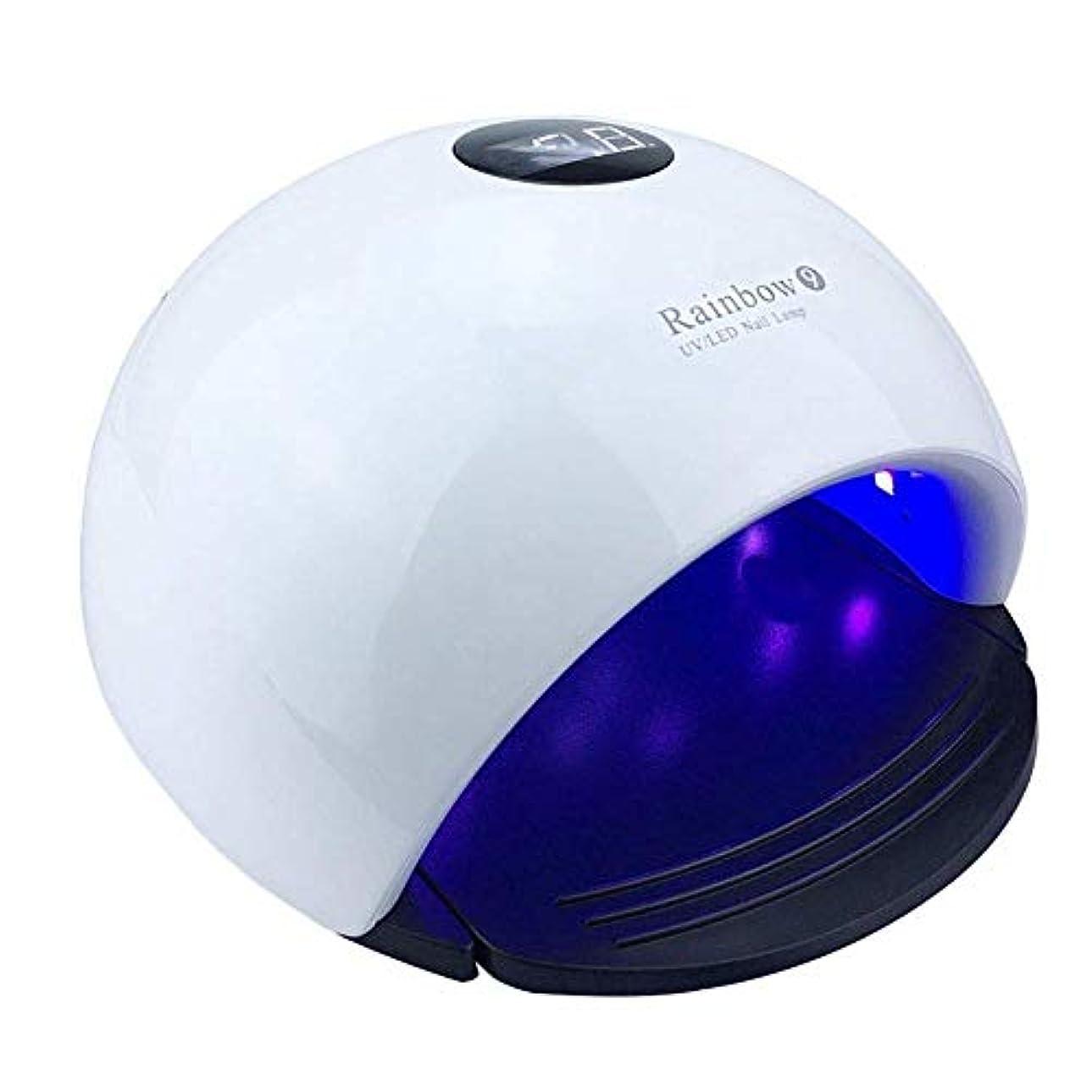 持参ラグオーバーフローネイルドライヤーRainbow 9 UV Light 48Wネイルドライヤー24個入りLEDランプネイル用UV LEDネイルランプジェルネイル用硬化ポリッシュマニキュアツール、写真の色
