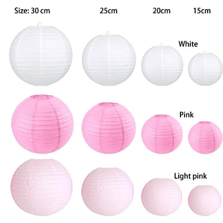 Bliqniq 12個セット 紙ちょうちん ランタン 新年 クリスマス 誕生日 インテリア ショップウィンドウ バー 誕生日 飾る 折り畳む 白 ピンク ライトピンク サイズ 15cm 20cm 25cm 30cm