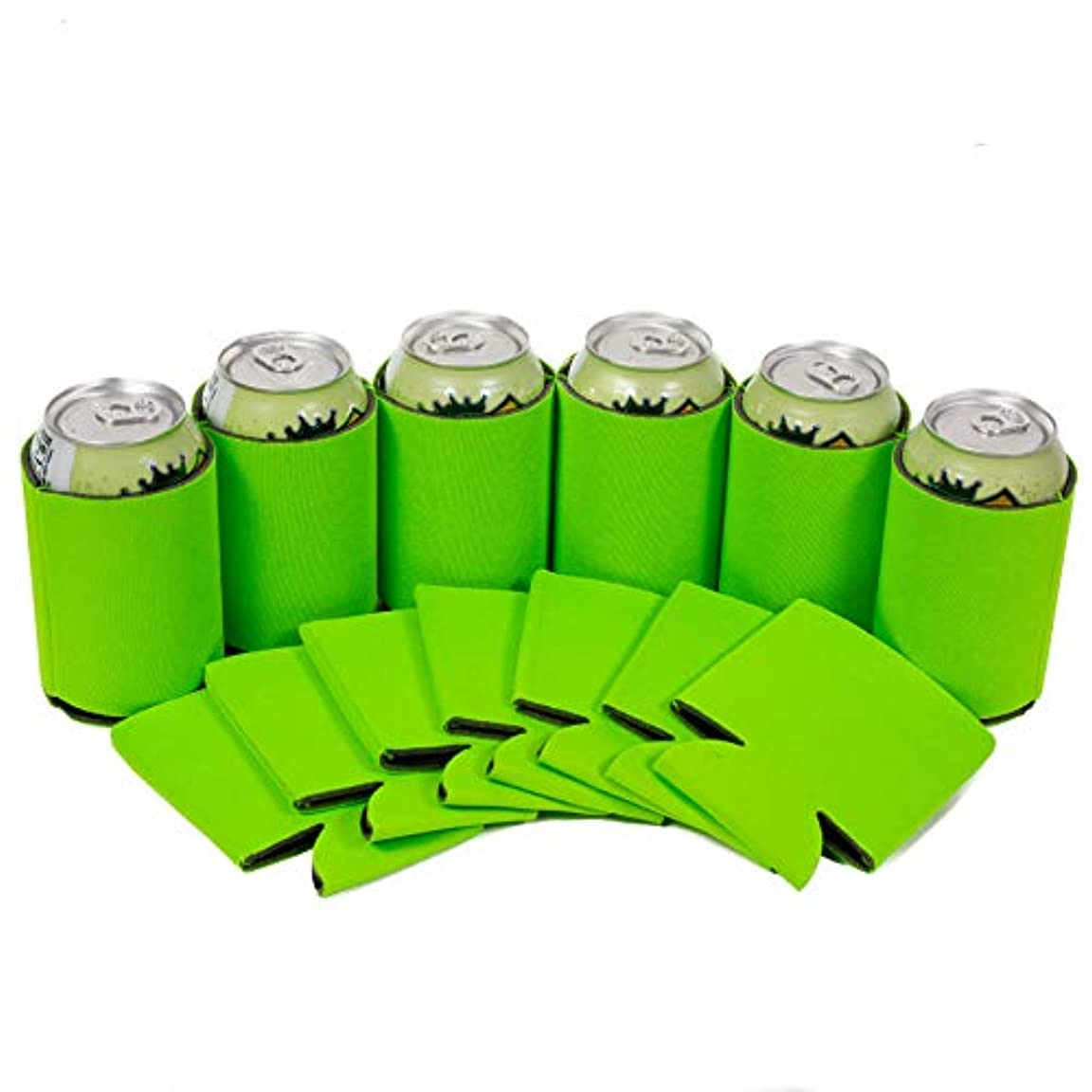 劣る森爆弾(12, Lime Green) - Premium Blank Can Coolers Sleeves Beer,Soft Drink - Can Insulators,Coolie Economy Bulk, Variety Of Colours and Sizes (12, Lime Green)