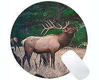 コンピュータのラップトップ、鹿動物の野生動物のための長方形の丸いマウスパッド - ステッチエッジ