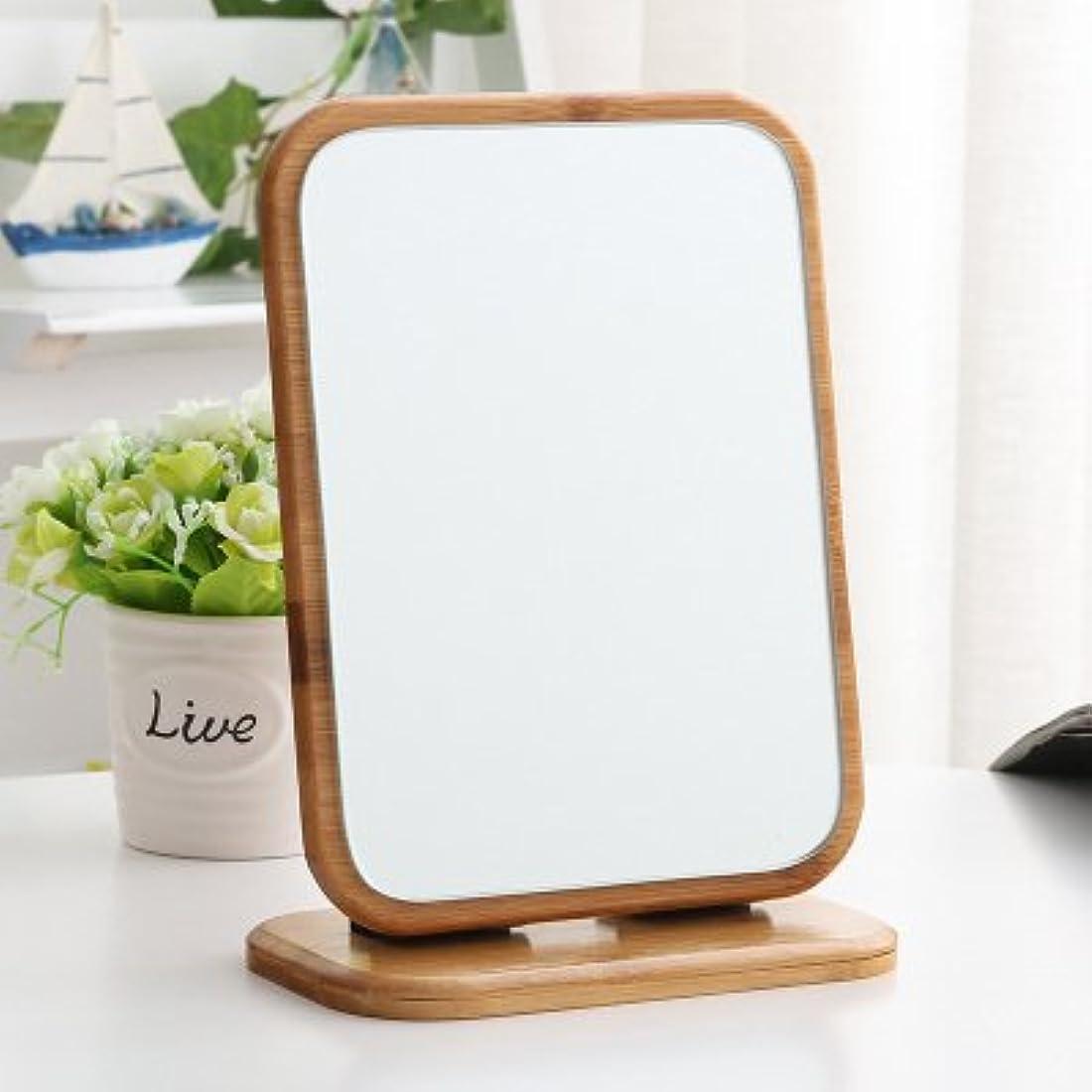 支払いスリル半円折りたたみ式 90度角度調整可能 スタンド付き メイクミラー シンプル 木目 卓上ミラー 置き鏡 (方形)