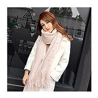 スカーフ秋と冬シックな暖かいパールロングタッセルソリッドカラーショール (色 : D, サイズ さいず : 50*200cm)