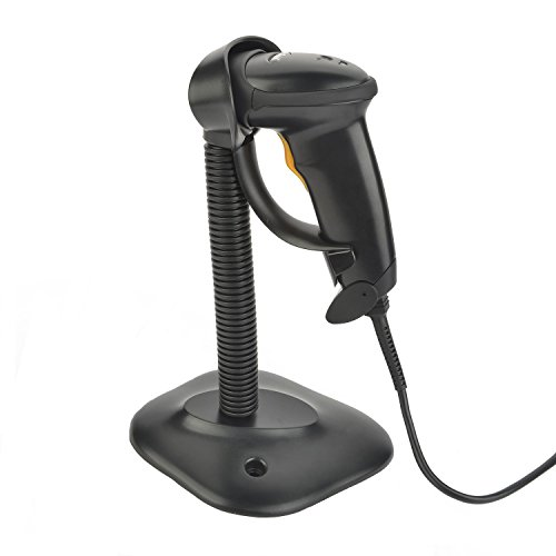 ieGeek レーザーバーコードリーダー 手持ち式バーコードスキャナ 自動スキャン/手動スキャン USB接続有線 ハンズ フリー 360度回転スタンド付バーコードスキャナー ワンガンタイプ(ブラック)