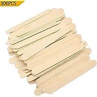 300 枚 木製 アイススティック棒 木製 アイスの棒 長114mmx巾10mm いろんな芸術品や作品を作り用に 他の木製工芸品