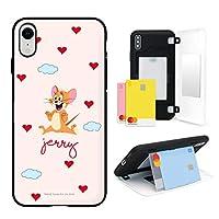 トムとジェリー iPhone XR アイフォン XR ケース スマホケース 2種類 カードポケット 2枚のカード収納 ミラー付き スマホスタンド 2重構造 傷防止