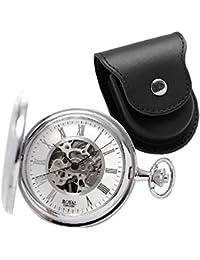 ROYAL LONDON(ロイヤルロンドン) 両蓋開き スケルトン懐中時計 手巻き 90029-01 正美堂オリジナル懐中時計専用ケース(ブラック)のセット[正規輸入品]