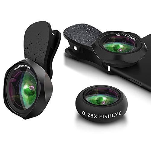 スマホレンズ クリップ式 0.6倍広角レンズ 15倍マクロレンズ 180°魚眼レンズ 高画質カメラレンズキット 自撮り ワイド 接写 スマホ用カメラレンズセット iphone Android全機種対応 簡単装着 携帯レンズ 3in1(広角+マクロ+魚眼)