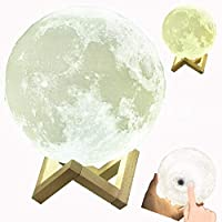 U - Hotmiムーンランプ、3D印刷グローディミング可能な明るさUSB充電式2色(クール/ウォームホワイト)キッドの月光(15CM)
