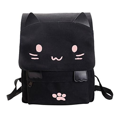 (ピーキー)Peigee リュック デイパック 猫 ねこ 猫耳 可愛い 癒し 帆布 肩掛け 女の子 通学 通勤 旅行