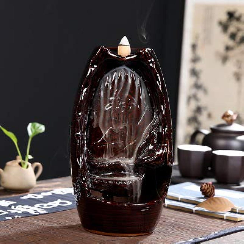 小石団結する目立つPHILOGOD 陶器香炉 漢字レリーフ仏壇用 逆流香 倒流香立て 香皿