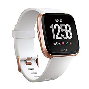 Fitbit フィットビット スマートウォッチ Versa 女性の体調管理 心拍 睡眠 パーソナルコーチ 耐水仕様 White Band/Rose Gold Alumium L/Sサイズ【日本正規品】 FB505RGWT-EU