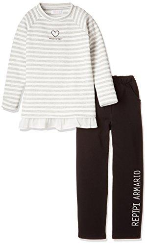 (レピピアルマリオ) repipi armario(レピピアルマリオ) repipi armario シャギー裏起毛ボーダー柄ハート刺繡裾フリル長袖パジャマ