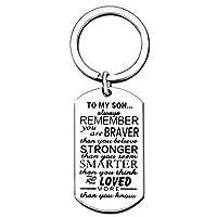 息子キーチェーンメンズBoyギフトto My Son–You Are Braver Stronger Smarter Than You Thinkステンレススチール