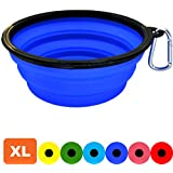 Zenify Dog Bowl - Extra Large 1000ml Collapsible Foldable Food and Water Feeder Dish - Portable Travel Leash Lead Slim Accessories for Training Pets Puppy Dogs (7 inches / 17.8 cm) (Blue XL)