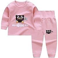 LUKEEXIN Toddler Baby Autumn Sleepwear Kids Girls Pajama Sets Cartoon Print Long Sleeve Cute T-Shirt Tops with Pants
