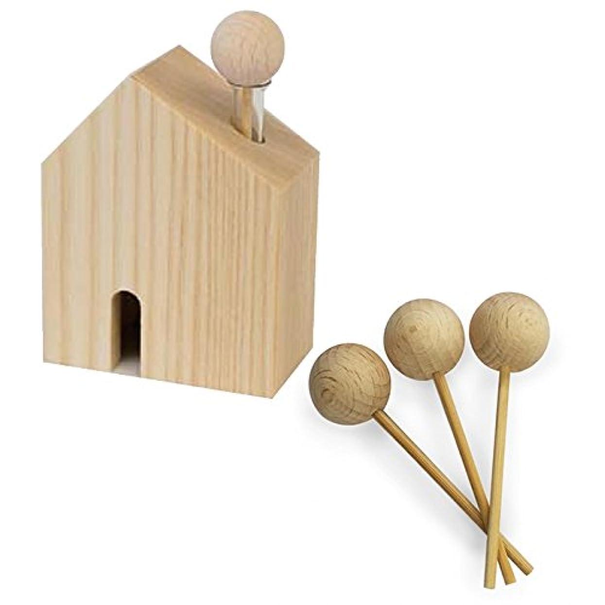 店主死すべき有名なHARIO ハリオ アロマ芳香器 木のお家 交換用木製スティック3本付