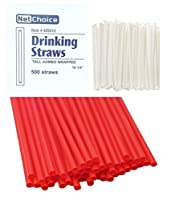 500 COUNT Net Choice Drink & Toss HEAVY Plastic Tall Giant Individually Wrapped 10.75-inch RED Straw [並行輸入品]