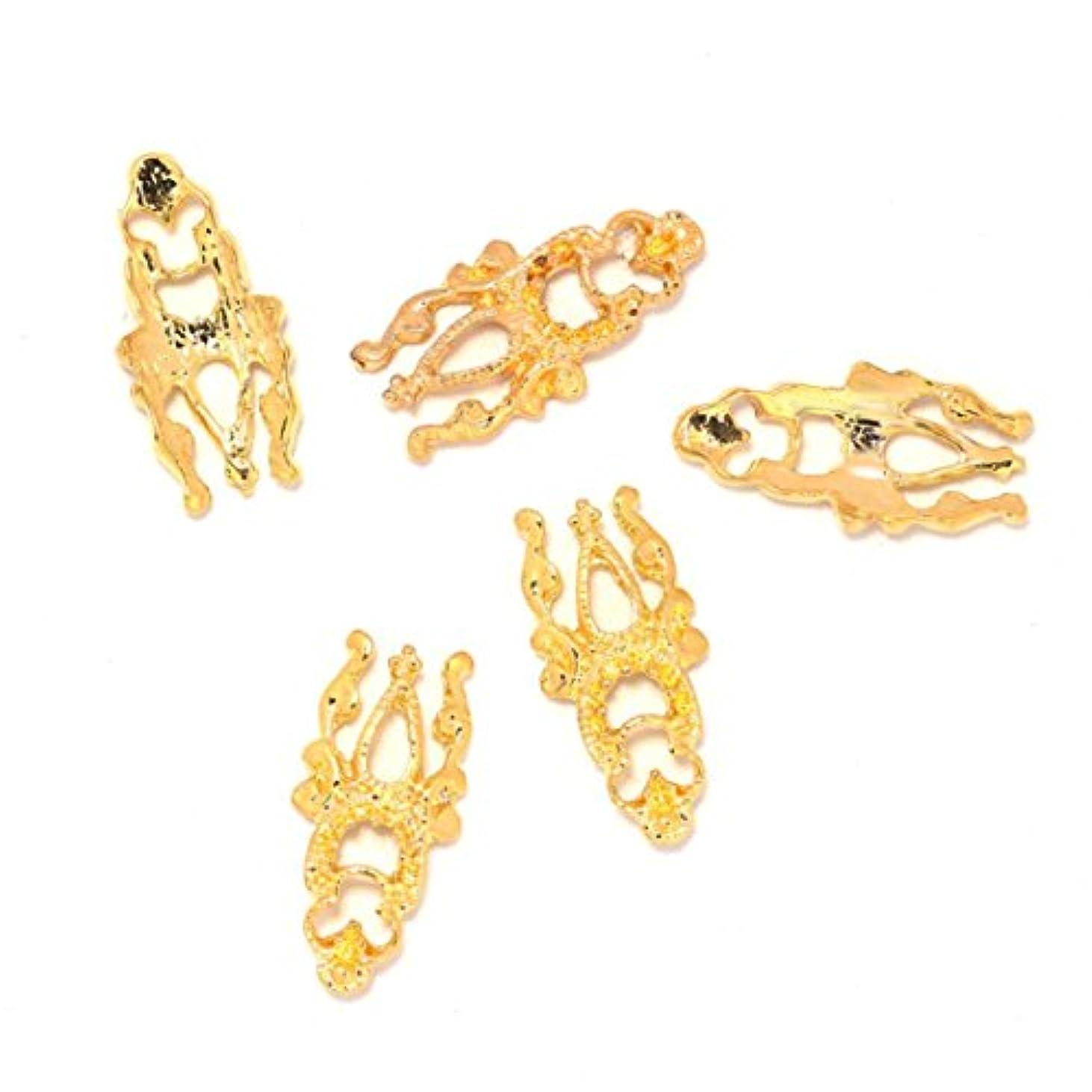 状況博物館地上でFeteso 10PCs ネイルパーツ デコパーツ 3Dネイルアート ゴールド シルバー 幾何学 メタリック ネイルオーロラ ネイルアート メタルパーツ グリッター 金属調 不思議 デコ用 合金ジュエリー ラインストーン