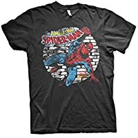 Officially Licensed Marvel Comics Distressed Spider-Man 3XL,4XL,5XL Mens T-Shirt (Black)