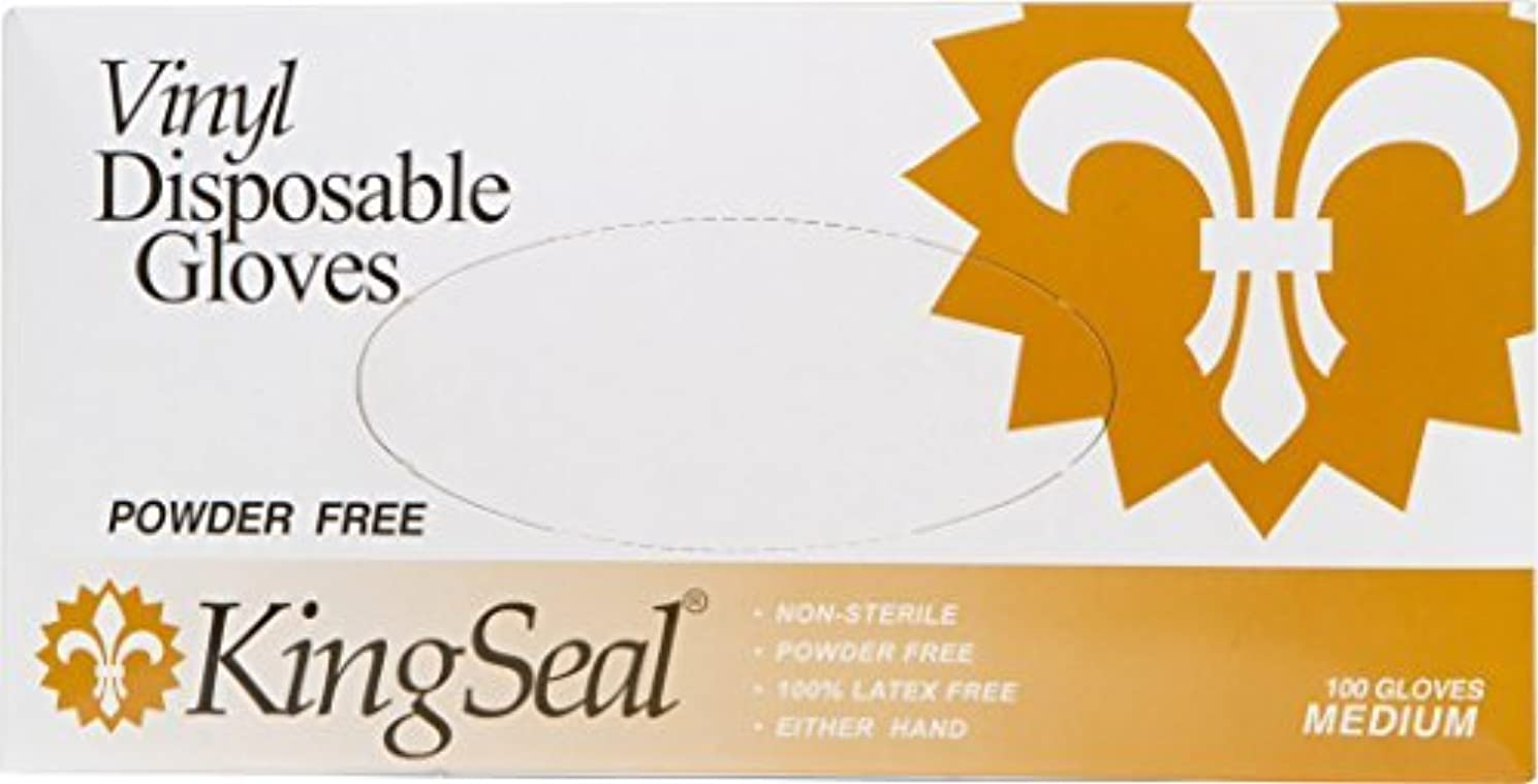清める征服者組み込むKingSeal Vinyl Disposable Gloves Powder-Free 4 mil Clear Medium 10 bx/100 per Case [並行輸入品]
