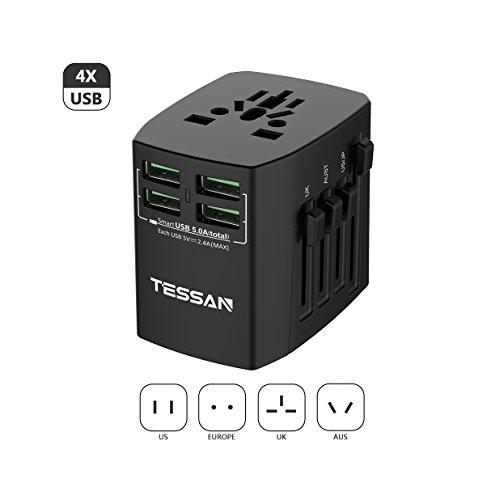 海外変換プラグ BF・C・A・Oタイプ コンセント マルチ電源プラグ 旅行充電器 TESSAN 4USBポート付 25W/5A 1ポート2.4A(最大) USB充電器 ヨーロッパ/アメリカ/イギリス/オーストラリア等世界中150ケ以上の国に対応