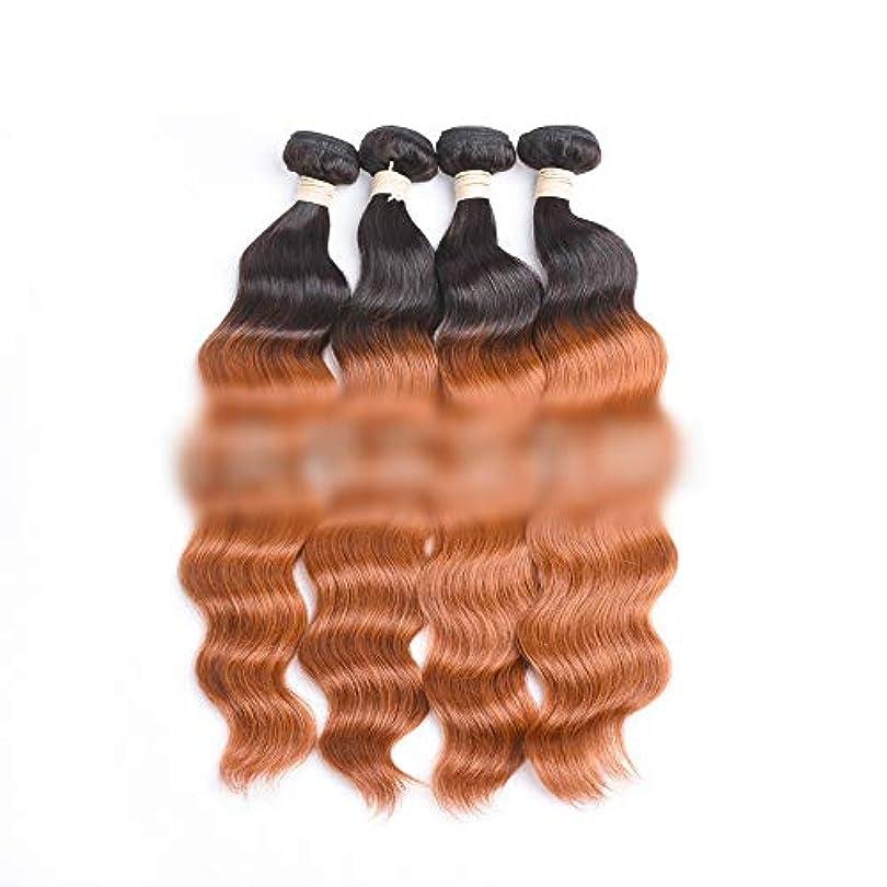 アテンダントラッシュ怒るYESONEEP ブラジルのオーシャンウェーブヘア1バンドル未処理の人間の髪の毛の拡張子 - #30明るい茶色の色ロールプレイングかつら女性の自然なかつら (色 : ブラウン, サイズ : 26 inch)