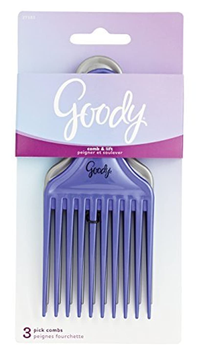 Goody Comb & Lift Hair Pick, 3 Count, Assorted Colors [並行輸入品]