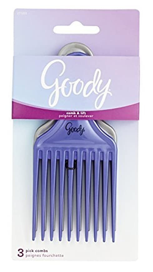 対応鰐血色の良いGoody Comb & Lift Hair Pick, 3 Count, Assorted Colors [並行輸入品]
