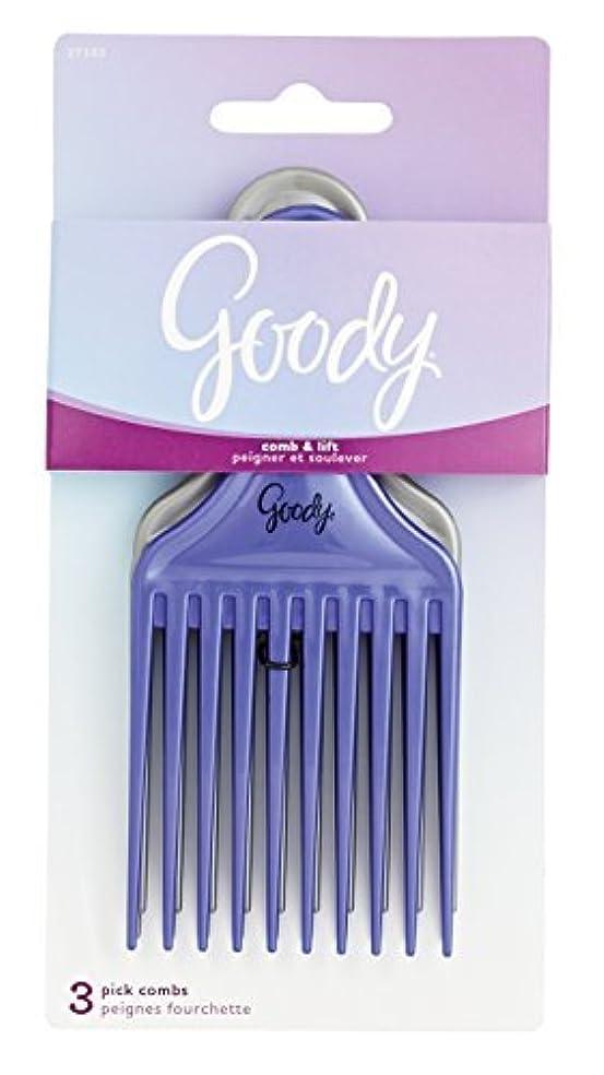 Goody Comb & Lift Hair Pick, 3 Count, Assorted Colors [並行輸入品]