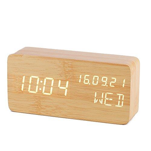 3E Home 置き時計 ナチュラル風 インテリア オシャレ デジタル アラーム LED 目覚まし時計 大音量 カレンダー付 温度表示 音声感知 USB給電 木目調 (茶 白字)