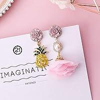 Row&ling2018 トレンディな日本韓国ガールかわいいイヤリングシンプルなピンクの生地の花ブラブライヤリングファッション女性ジュエリーアクセサリー イヤリング レディース