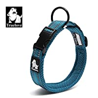 Truelove 犬 首輪 メッシュ 首への負担が少ない 3M反射材付 小型犬 中型犬 大型犬 コバルトブルー L