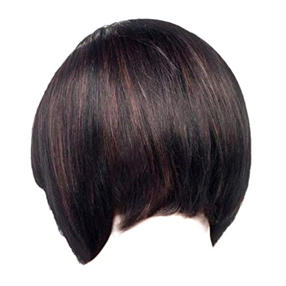 どっちでもみなさん平和的ウィッグレディースファッションブラックショートストレートヘアナチュラルウィッグローズヘアネット