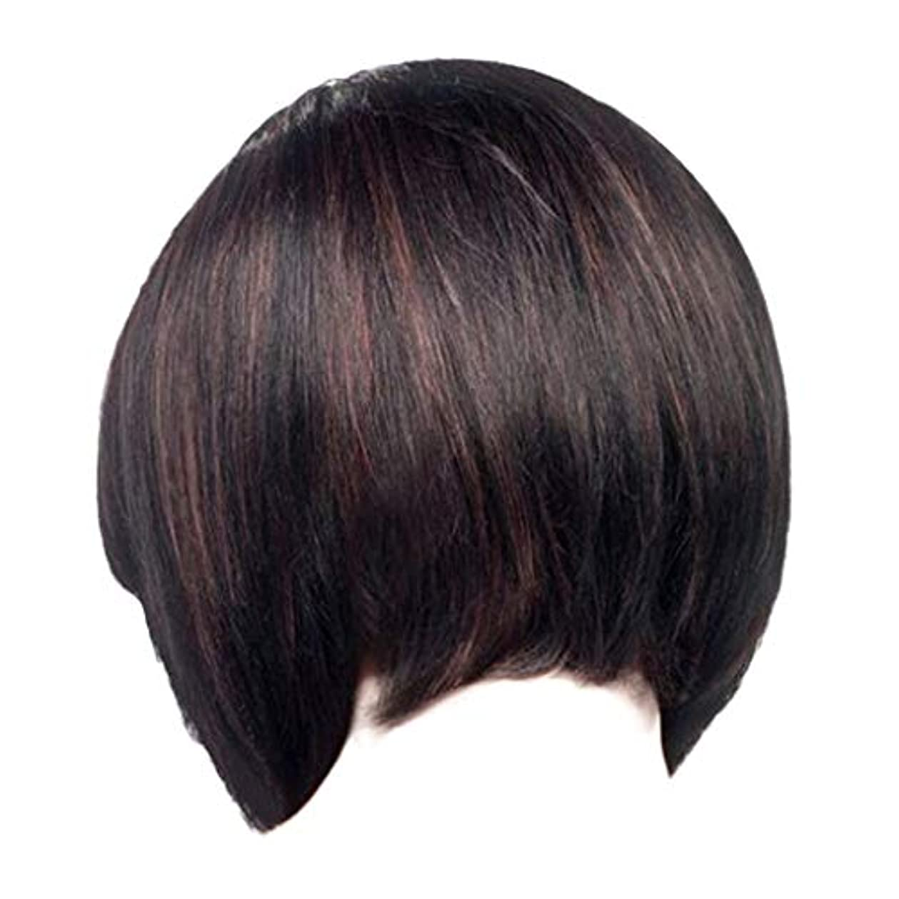 ウィッグレディースファッションブラックショートストレートヘアナチュラルウィッグローズヘアネット