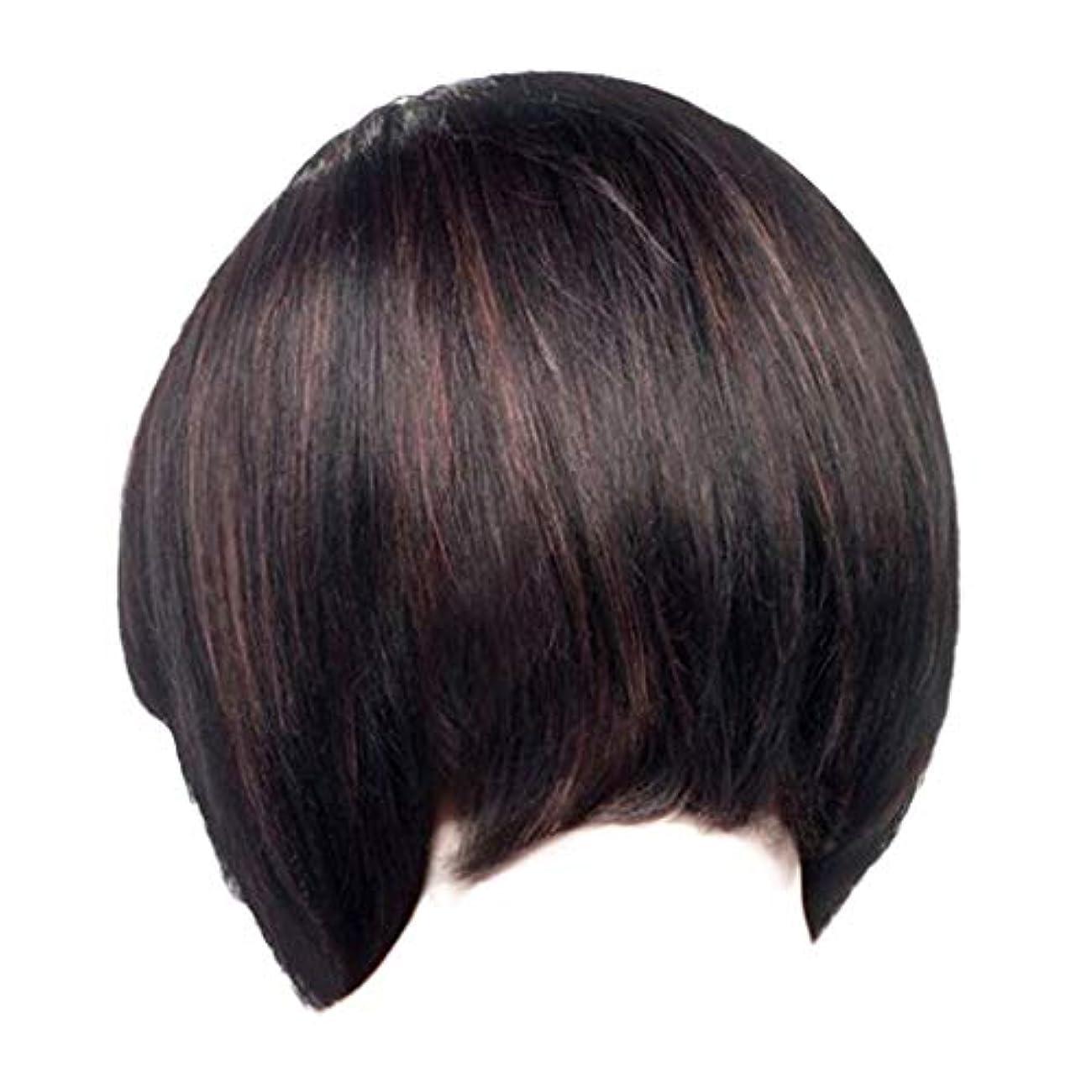 唯一優雅ビジュアルウィッグレディースファッションブラックショートストレートヘアナチュラルウィッグローズヘアネット