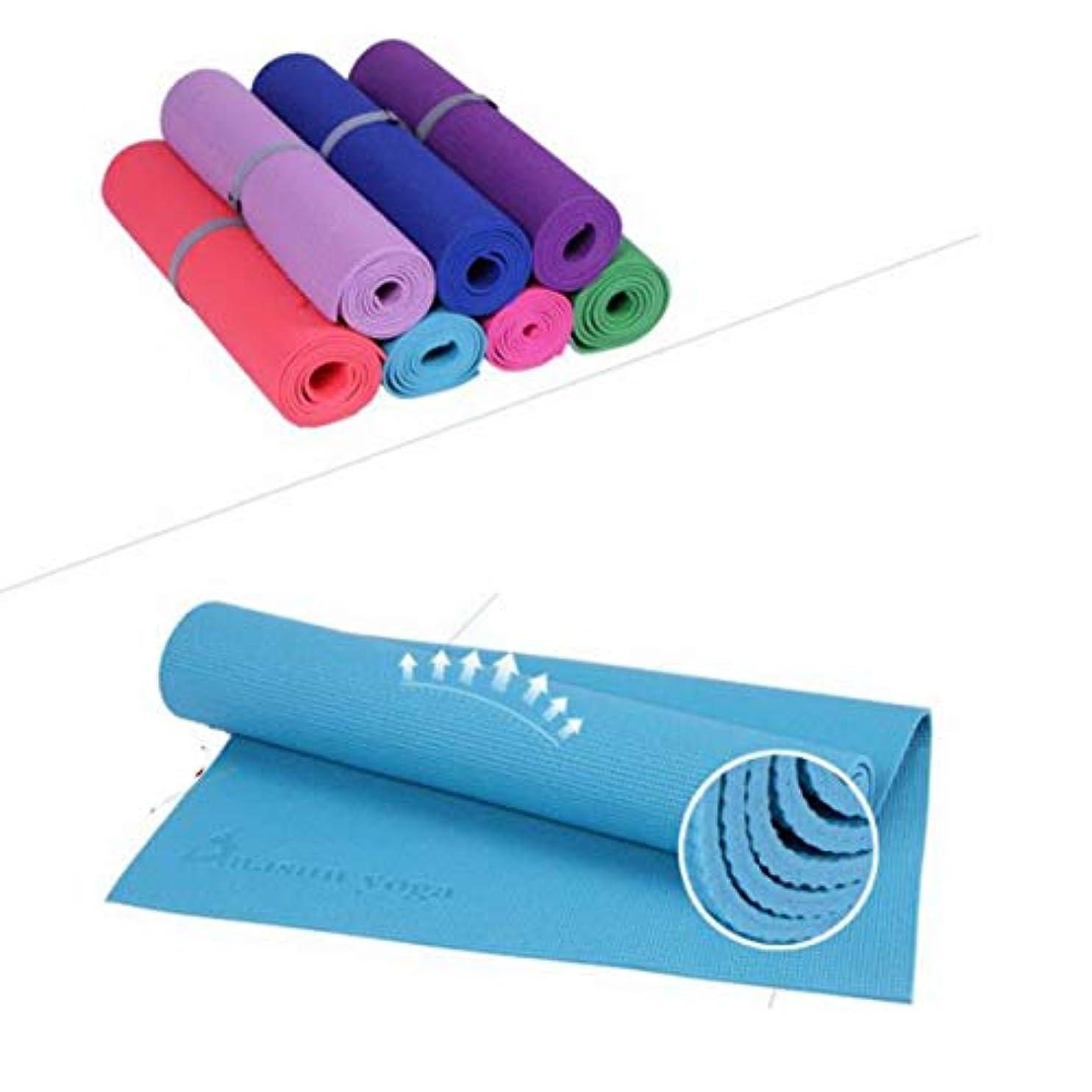 起業家レンズ入射PVCヨガマットフローラルプリントヨガマット滑り止め通気性グッドグリップパッドエクササイズフィットネスパッド厚さ6mm(ダークパープル)